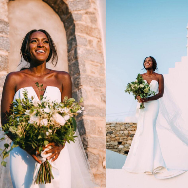 Gorgeous 2019 Mermaid Wedding Dresses V Neck Black Girls African Bridal Gowns Plus Size Dubai Wedding Gowns For Brides Vestidos de novia
