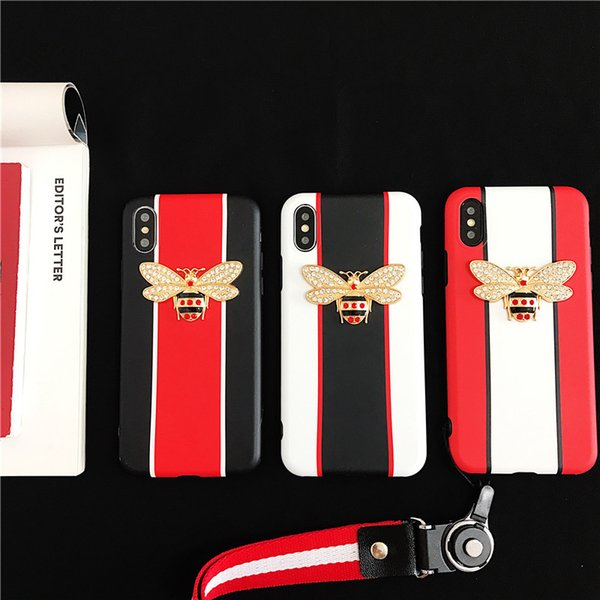 New Design For iPhone X bee diamond Mobile Phone Case Lanyard soft Phone Case For Iphone 6 7 8 plus