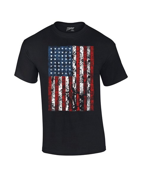 2018 Fashion Men's Fitness Summer Trenz Shirt Company American Flag Mens T Shirt United States Usa Tattered Flag Summer 100% Cot