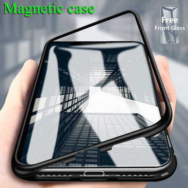 New Fashion Luxury Magnetic Adsorption Phone Case for Iphone XR XS MAX Magnet Bumper Metal Flip Tempered Glass Protection IPhone Coque Cover