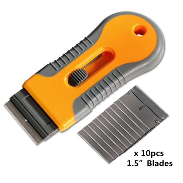 Razor Scraper with 10pcs Steel Blades Knife Tinting Tools Ice Scraper Auto Car Sticker Squeegee Window Vinyl Film Remover