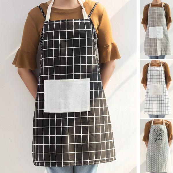 Tablier de chef réglable avec poche hommes et femmes tablier de cuisine en tissu de coton à carreaux pour la cuisson cuisson gris HH7-1794