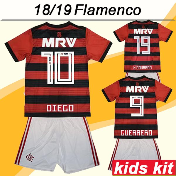 2018 19 Flamengo DIEGO Kid Kit Soccer Jerseys GUERRERO E.RIBEIRO H.DOURADO Inicio Fútbol Infantil Camisetas Top Boy Girl Camisetas de Futebol
