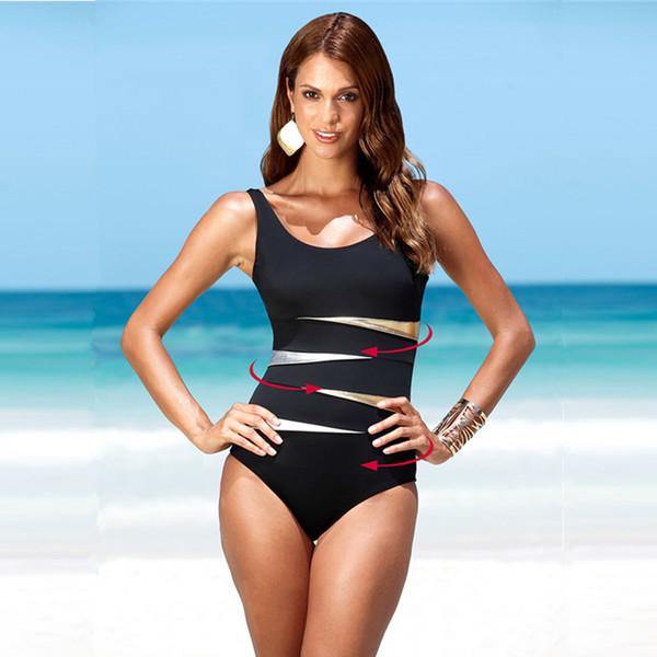 Plus Size Swimwear Solid Bling Gold Swimwear One Piece Swimsuit Women Vintage Retro Bathing Suits Monokini Swimsuit 4XL
