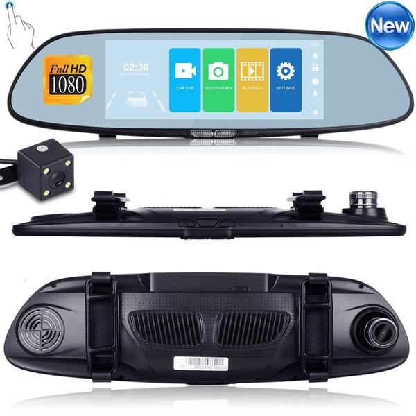 Nueva alta calidad HD 1080P 7 '' Car DVR Grabador de video G-sensor Dash Cam Retrovisor cámara DVR Envío gratis