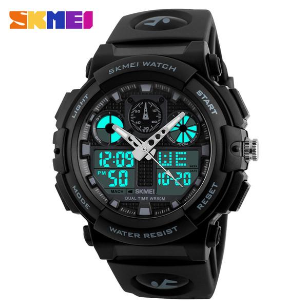 SKMEI Brand Men's Watches Men Black Dual Display Digital Quartz Wrist Watch Mens Sport Watches Men Waterproof Military Relogio Masculino