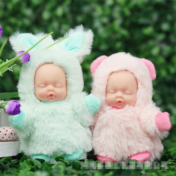 9cm BD Kawaii Sleeping Baby Plush Toy Cute Rabbit Stuffed Toys for Children Kids Gift Toys 10 Styles Bag Ornaments Key Pendant