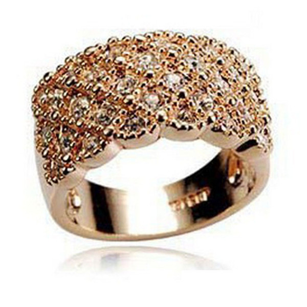 Hot Selling Women Girl Elegant Shine Full Rhinestone Ring Stainless Wide Band Gold Silver Wholesale