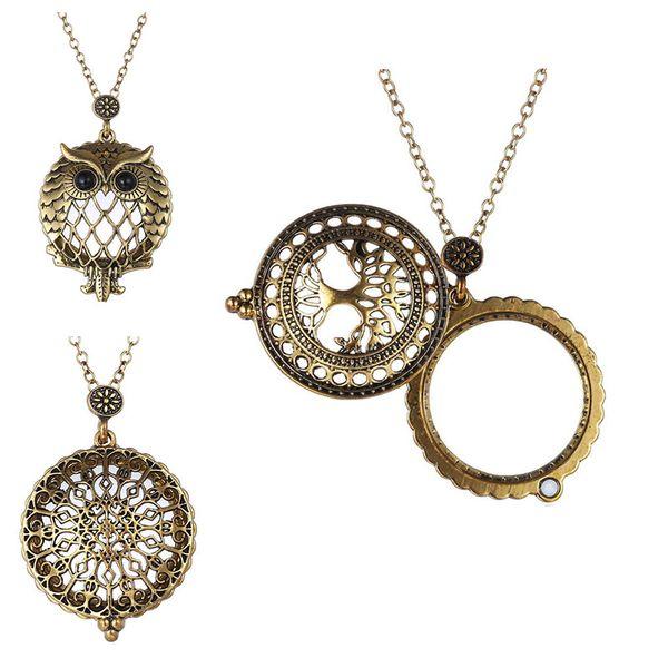 Retro Baum des Lebens Eule Lupe Anhänger Halskette Medaillons Kette Frauen Modeschmuck Geschenk Willen und sandigen Tropfenverschiffen