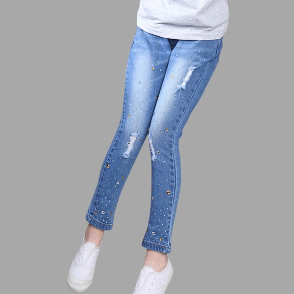 Girls Jeans 2018 Plus Size Baby Girls Pants Slim Skinny Kids Leggings Cotton Casual Children Girls Clothes 6 8 10 12 14 Year