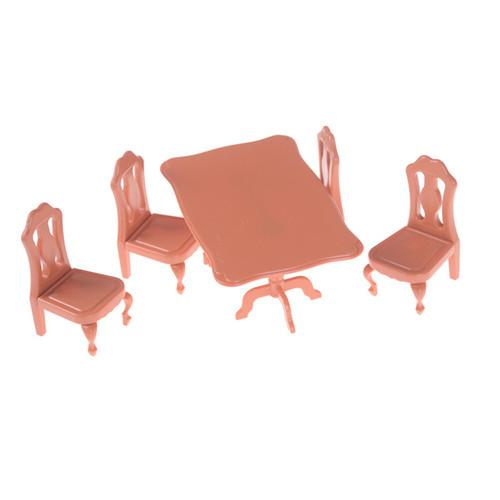 5PCS Miniature Furniture Dining Table Chair Set DIY Lovely Mini Dollhouse Children Kids Gift Toys Dolls House Accessories Kits