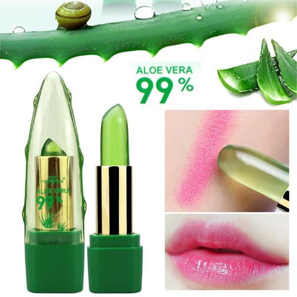 top popular 2018 New Batom 99% ALOE VERA Natural Temperature Change Lipstick Long Lasting Moistourizing Lip Makeup 2021