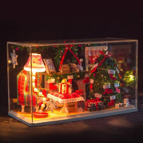 Christmas DIY Doll house 3D Miniature Wooden assembled+light Handmade kits Building model wooden doll house furniture miniature