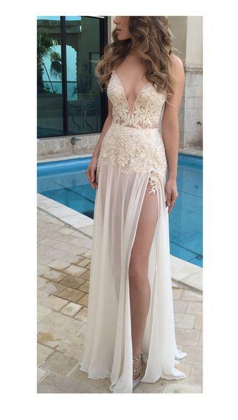Compre 2018 Simples Vestidos De Boda De Playa Con Escote En V Escarpado Vestidos De Novia Blanco Una Línea De Piso De Longitud Elegante Bohemia