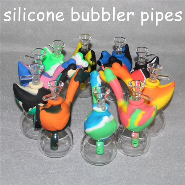 Glass Bong Dab Rig Swan Shap Mini Unbreakable Silicone Water Pipe Bong Smoking Hookah with glass bowl for Wax Oil Dry Herb