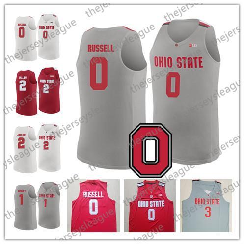 Ohio State Buckeyes #0 DAngelo Russell 1 Jae'Sean Tate 2 Musa Jallow 3 C. J. Jackson White Grey Stitched NCAA College Basketball Jerseys