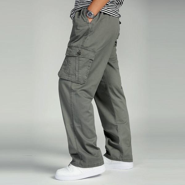Plus Size Big Men Cargo Pants Casual Men Elastic Waist Multi Pocket Overall Cotton Pants Male Long Baggy Large Trouser 5XL 6XL Y1892801