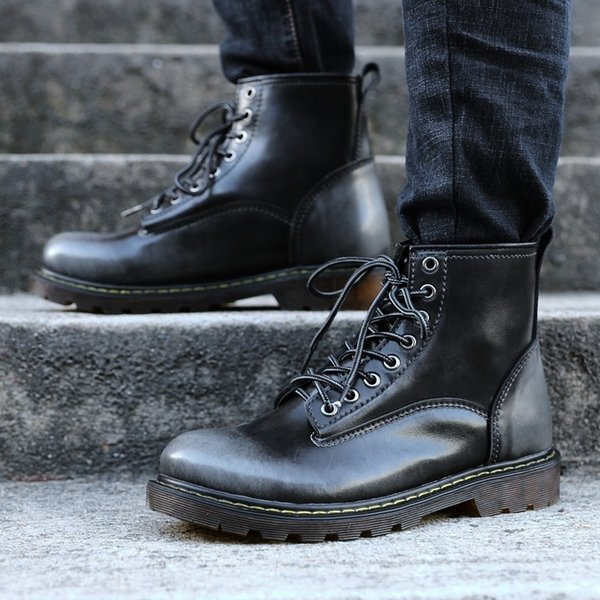 2018 женщин и мужчин мода кожаные сапоги ретро Повседневная обувь для мужчин любителей плюс размер US4.5-13