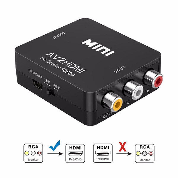Mini 1080P Composite AV RCA to HDMI Video Converter Adapter Full HD 720/1080p UP Scaler AV2HDMI for HDTV Standard TV L3EF