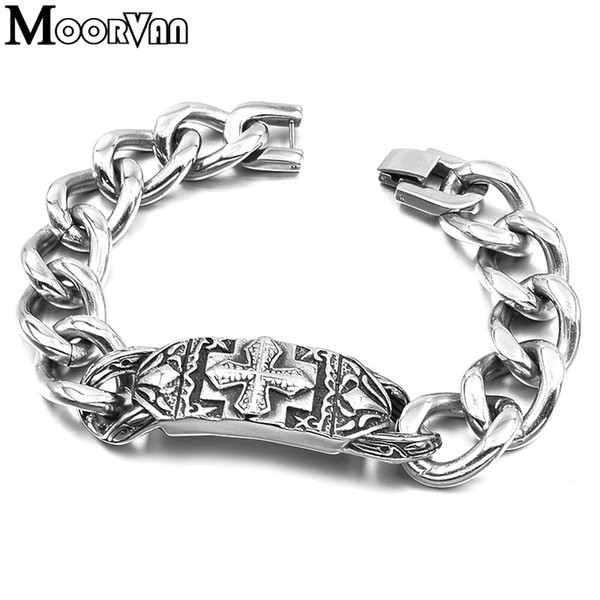 Moorvan stainless steel fashion middle ages vintage bracelet cross id chains 22cm 16mm men man jewelry free shipping VB656