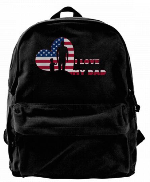 I love my dad American Flag father's day Canvas Shoulder Backpack For Men & Women Teens College Travel Daypack Design handbag