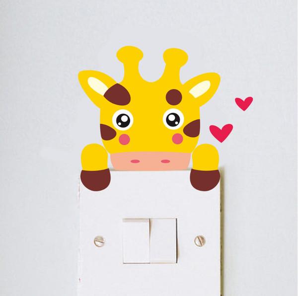 Toptan Güzel Zürafa Maymun Kedi Aslan Ayı Zebra Anahtarı Sticker Oturma Odası Yatak Odası Kreş Odası Dekor Işık Duvar Sanat Ev Dekorasyon