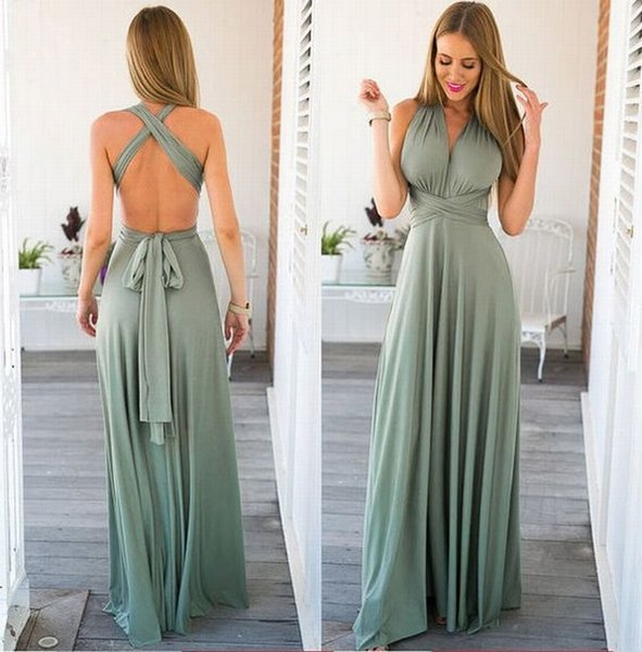 New Sexy V collar Charming Backless Chiffon Women Special Occasions Prom Dress Evening Dresses Party Dres