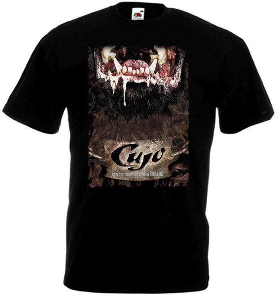 Design Shirts Short Cujo V1 T-Shirt Black Movie Poster All Sizes S To 3XL Crew Neck Short-Sleeve Mens T Shirts