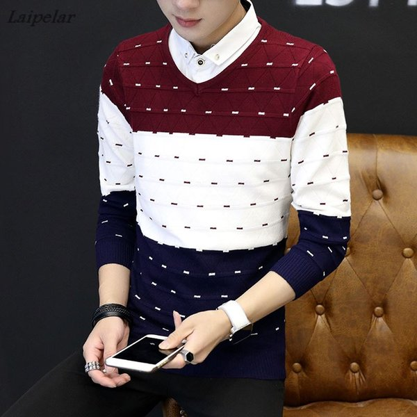 New Fashion Men Fake Two Piece Casual Pullovers men jumpers sweaters autumn and winter bottoming Pullover Shirt collar sweater