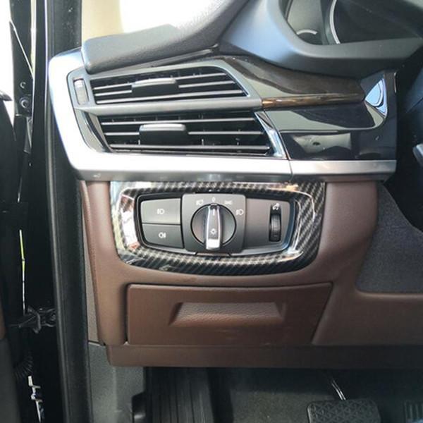 In fibra di carbonio stile faro interruttore cornice decorazione copertura Trim per BMW X5 F15 2014-2018 accessori auto interni auto