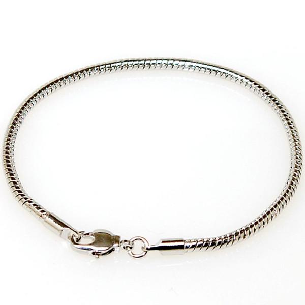 3MM Snake Chain Charm Bracelet Imitaion Plaqué Rhodium Convient Pour Diy Charme Pandora Bracelet Européen Grand Trou Perles (Snake Chian Seulement)