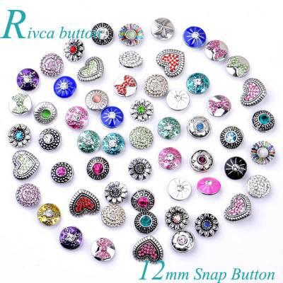 50PCS 12MM Rivca Snaps Button Jewelry Rhinestone Loose Beads Mixed Style Fit For Noosa Bracelets Bangle Necklace Jewelry DIY Accessories
