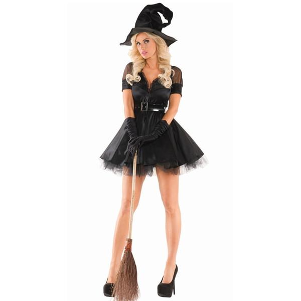 New Sexy Black Party Dress Halloween Women Black Sleeping Beauty Strega Regina Costumi Carnevale Party Cosplay Fancy Dress