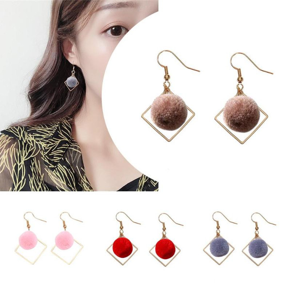 2018 New Temperament Short Paragraph Dangle Earrings Fashion Women Pompom Square Dangle Hook Geometric Drop Earrings Jewelry