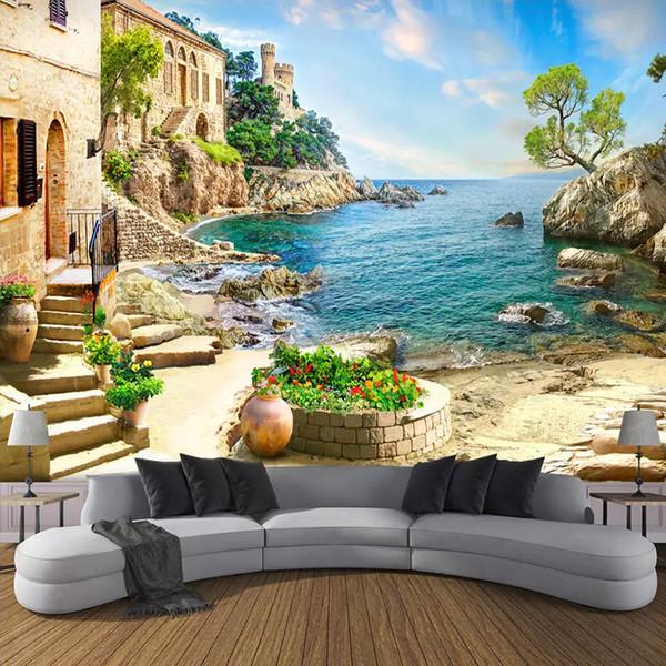 Просмотр пользовательских 3D Фото обои Замок Сад Море стена Картина Гостиная Диван Спальня украшения стены Mural Papel De Parede 3D