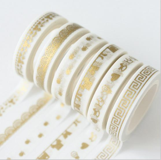 top popular 30 Golden Pattern Washi Paper Tape for DIY Scrapbooking Paper Sticker Diary Dec Poster Kawaii Stationery School Supplies 2016 2019