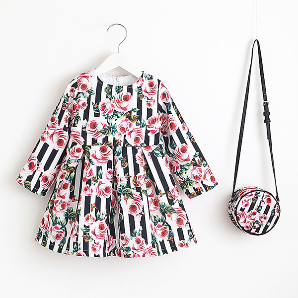 Autumn Long Sleeve Girl Dress Floral Print Toddler Girl Dresses Kids Clothing