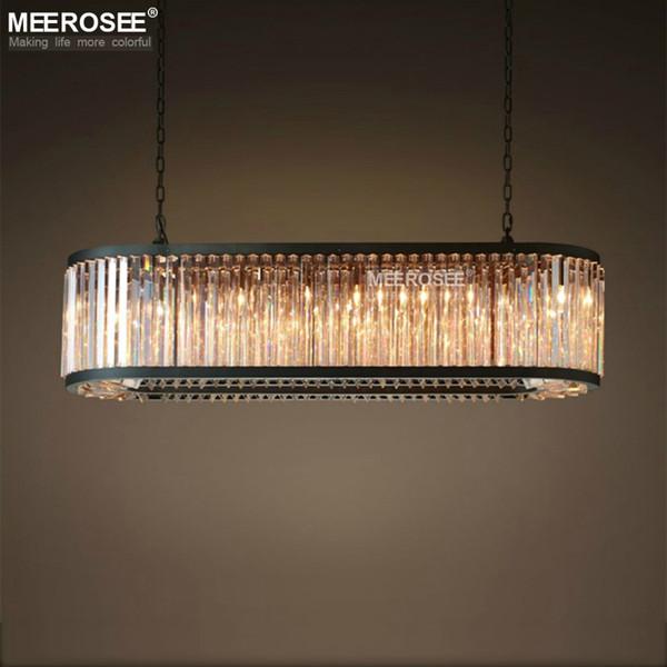 Vintage lustre en cristal éclairage rectangle luminaires suspendus lumière moderne cristal restaurant hôtel style américain baisse Lamparas