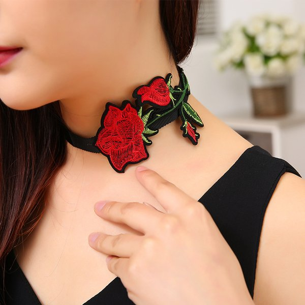 whole saleNew Arrival Embroidery Rose Flower Chokers Necklace Jewelry Black Ribbon Retro Necklace Statement Jewelry Accessories for Women