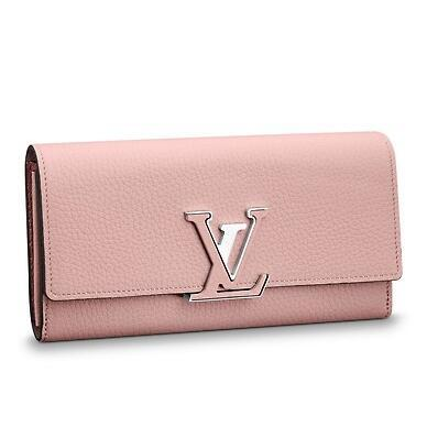 M61250 CAPUCINES WALLET pink Real Caviar Lambskin Chain Flap Bag LONG CHAIN WALLETS KEY CARD HOLDERS PURSE CLUTCHES EVENING