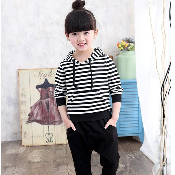 Big Size 3-15 Years Little Girls Clothing Sport Suits 2018 Spring Kids Hooded Outfits Baby Girl Striped Black White Tracksuit