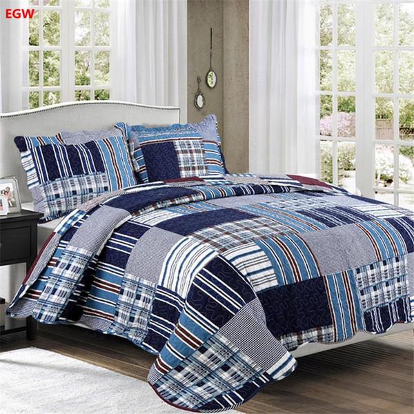 Textiles para el hogar 3 unids colcha + funda de almohada gris negro flor patchwork edredón azul rosa rejilla cubierta de cama ropa de cama de América enchufe