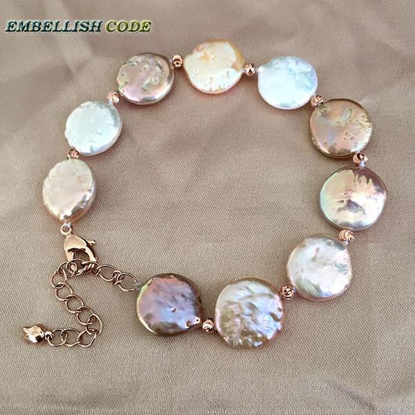 braccialetto di perle barocche bangle Regolare la lunghezza di colore misto a forma di moneta piatta naturale perle d'acqua dolce rosse perle dorate da 3 mm