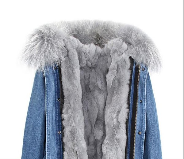 winter fur jackets Grey fur trim Jazzevar women snow coats grey rabbit fur lining demin blue mini parkas
