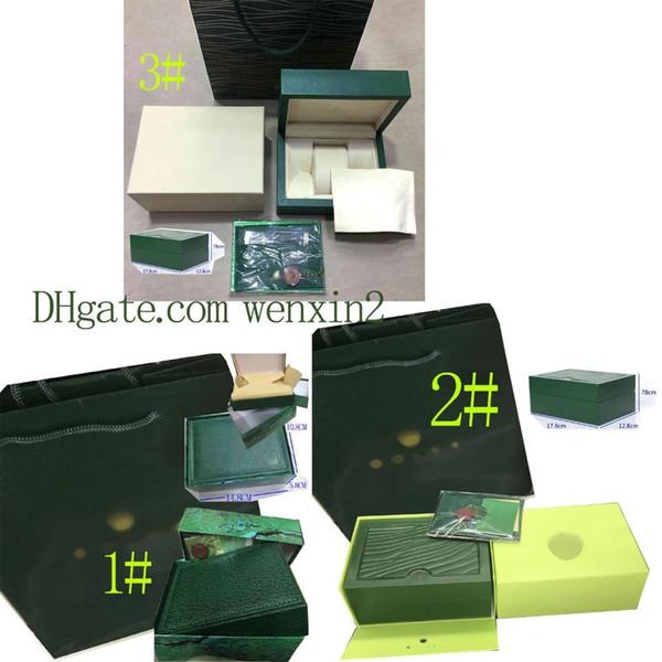 Green Box. Regardez les boîtes originales de cadeau de bourse de carte de carte-cadeau Sac à main 185mm * 134mm * 84mm 0.7KG pour 116610 116660 116710 montres