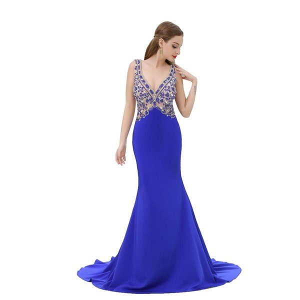 Sexy V Mermaid Evening dresses Blue Illusion Beaded Long Evening Gowns Backless Party Prom Dresses DH4252