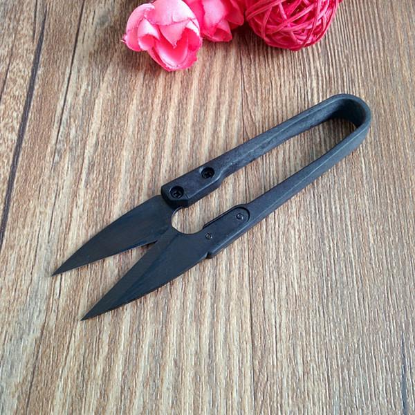 6pcs lot High quality patchwork small yarn scissors black coated handmade carbon steel U shape Eagle thread clipping scissors