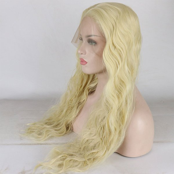Honey Blonde Color #613 Long Natural Wave Hand Tied Synthetic Lace Front Wigs Heat Resistant Fiber For White Women Wig
