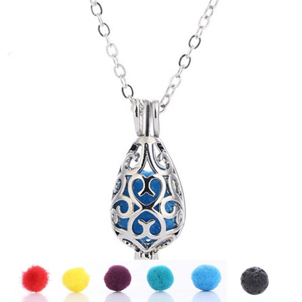 Fashion Lava Rock Stone cage pendant necklace Diffuser Essential Oil Water drop shape Charm Necklaces For women Jewelry Gift