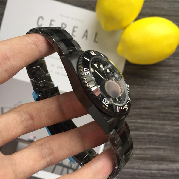 Wristwatches luxury watches fashion mechanical men watch Ceramic bezel full black steel diver 40mm 116610 AAA175